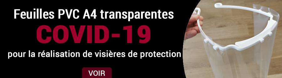 Feuilles PVC A4 transparentes pour réaliser des visières de protection.